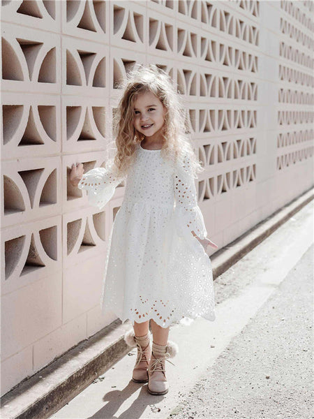 A-line Round Neck Long Sleeves Lace Flower Girl Dresses, FG0158