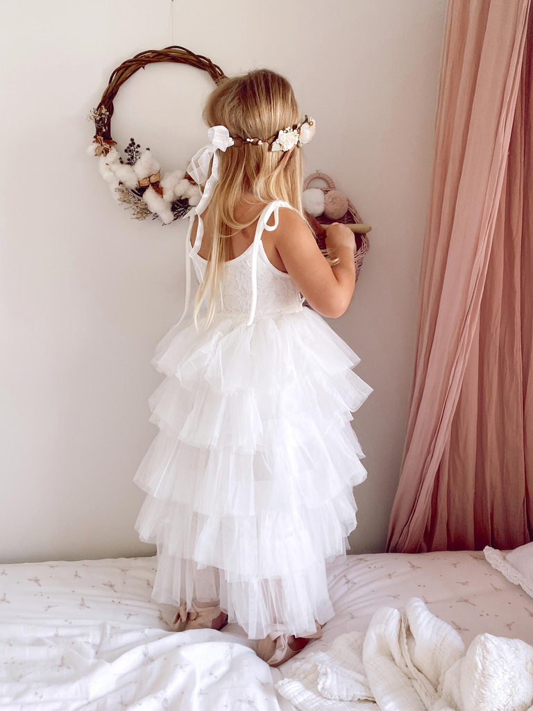 A-line SpaghettI Straps Lace Top Tulle Flower Girl Dresses, FG0159