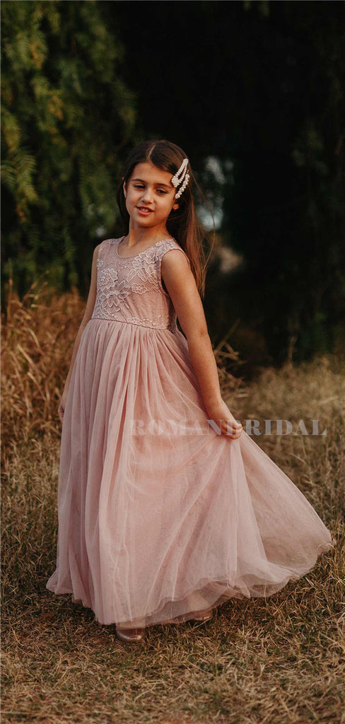 A-line Round Neck Floor-length Lace Flower Girl Dresses, FG0160