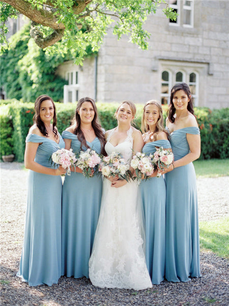 A-line Floor-length Off-shoulder Long Pleats Bridesmaid Dresses, BD0612
