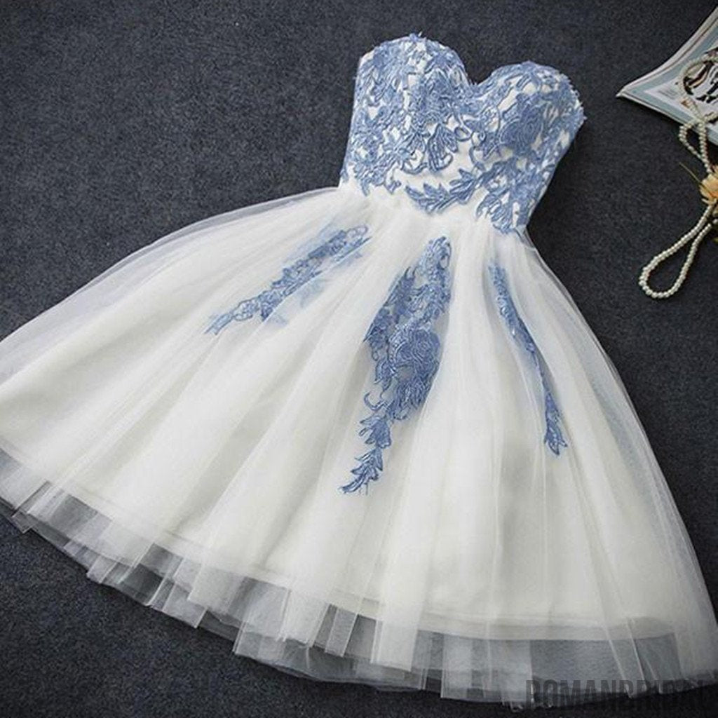 White A-line tulle blue Applique back straps short prom dresses, popular Homecoming Dress , HD0325