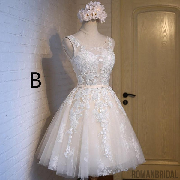 A-line scoop tulle short prom dresses, Applique back straps homecoming dresses , HD0324