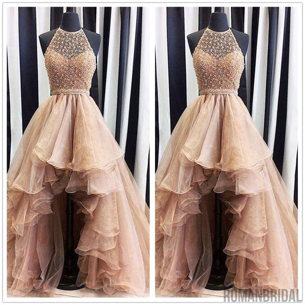 New Arrival Short front long behind Champagne organza  sleeveless Round neck long prom dresses, PD0514