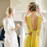 Country Style Floor-length Simple Front slit Cheap Yellow Unique Bridesmaid Dress, BD0511