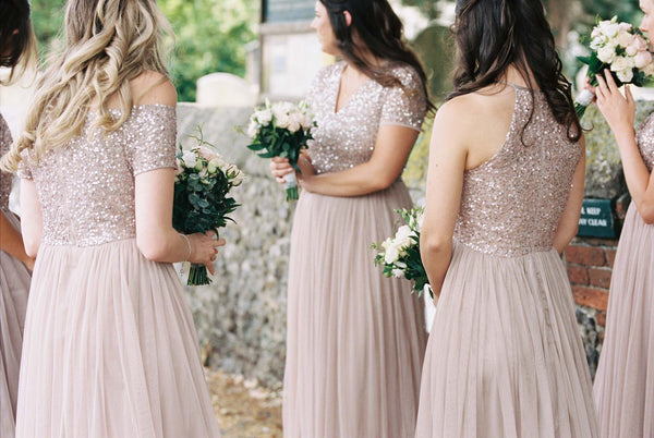 A-line Floor-length Off-shoulder Sequins Top Long Tulle Bridesmaid Dresses, BD0605