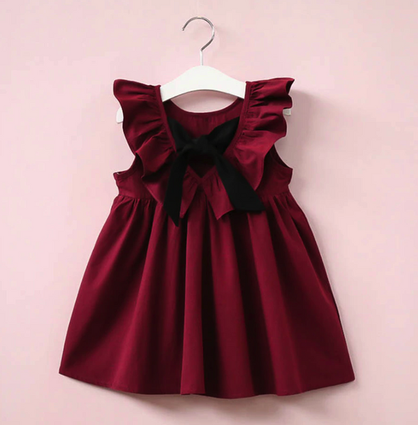 Simple Burgundy V-back Sleeveless Flower Girl Dresses With Bow, FG0131