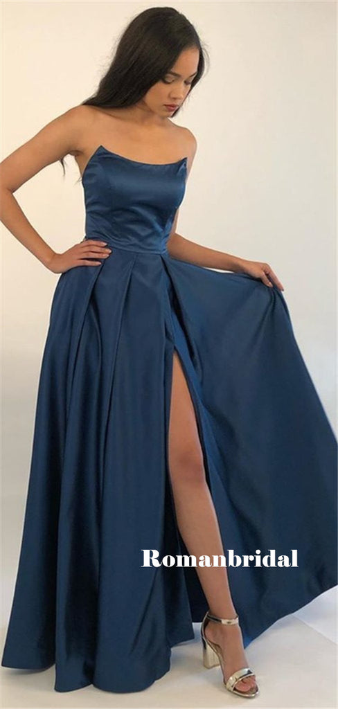 Strapless A-line Sleeveless Long Navy Blue Prom Dresses With Split, PD0793