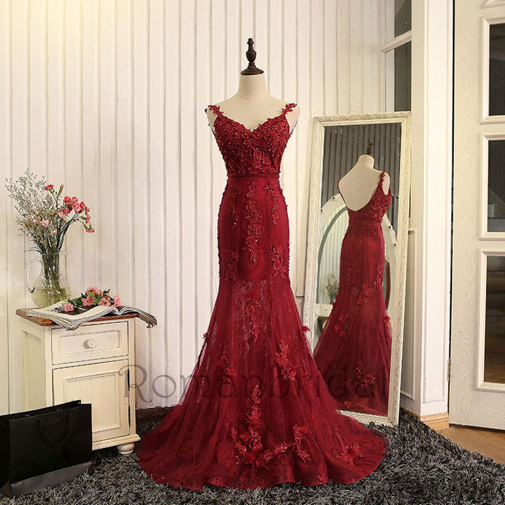 2018 Newest Sexy Elegant Prom Dresses, wine red evening dress,mermaid evening gowns,burgundy prom dress,lace prom dress,High Quality Graduation Dresses, Prom Dresses, PD0472