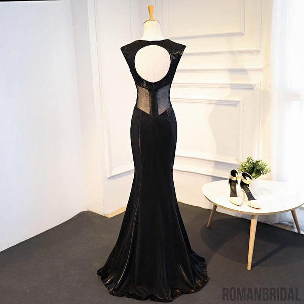 2018 Trumpet Black Stain Zipper Open Back V-neck Sleeveless Empire Prom Dress, PD0402