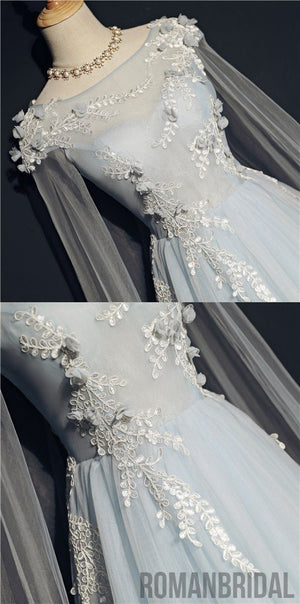 2018 Floor length Tulle Lace appliques Boat neck Empire long wedding party dress, PD0400
