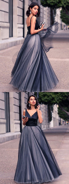 A-line V-neck Sleeveless Long Tulle Cheap Prom Dress, PD0628