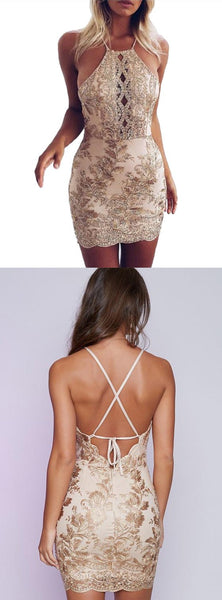 Charming Gold Embroidery Halter Sexy Tight Party Dress, Mini Homecoming Dresses, HD0357