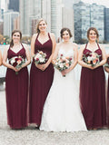 A-line Floor-length Burgundy Long Tulle Bridesmaid Dresses, BD0598