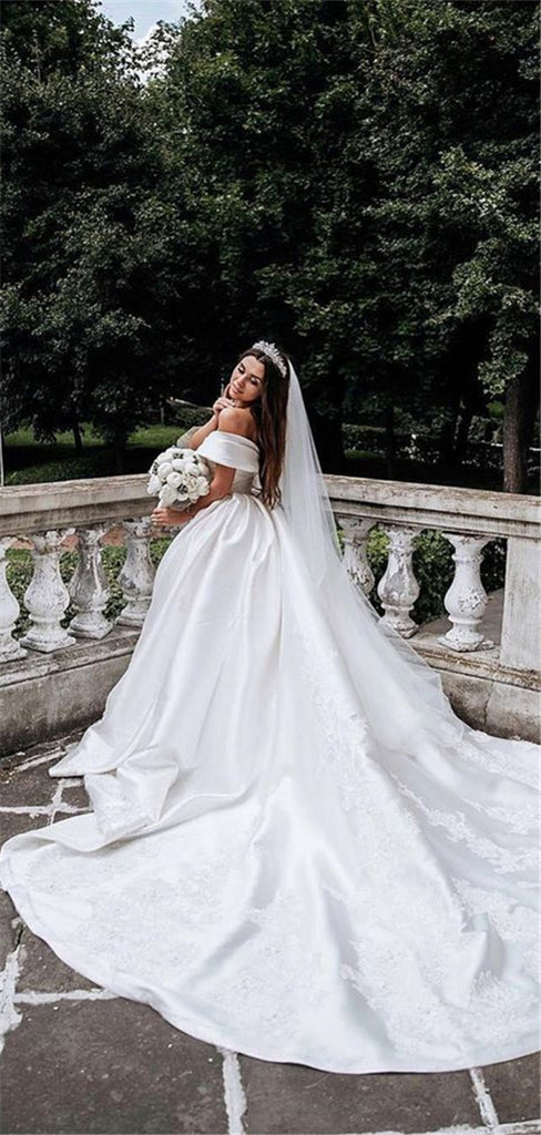 Gergeous Off-shoulder Simple Satin Ball Gown Wedding Dresses With Appliques, WD0475