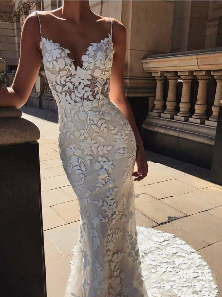 Mermaid Spaghetti Straps V-neck Lace Appliques Long Wedding Dresses, WD0473