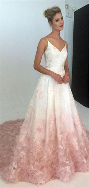 Spaghetti Straps Lace Pink Appliques Prom Dress With Strain, PD0734