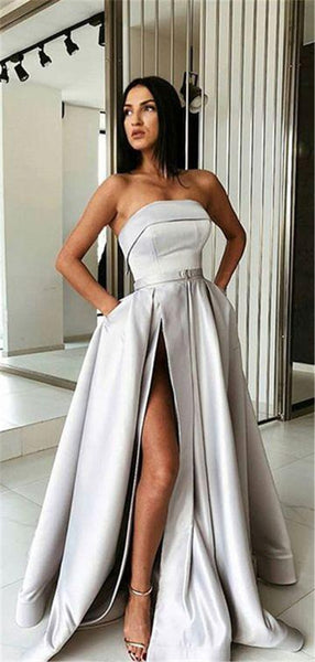 A-Line Grey Stain High Split Prom Dresses With Pocket, PD0763