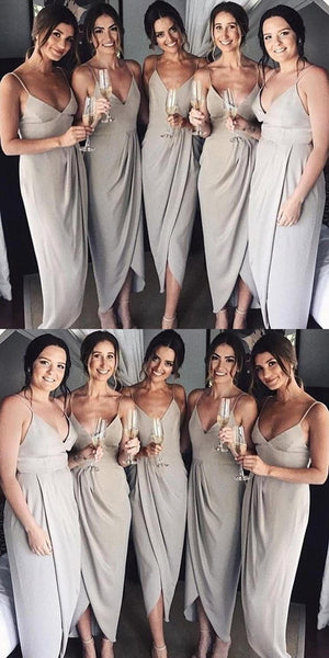 Neaest Simple V-neck Spaghetti Straps Sleeveless Grey Satin Cheap Bridesmaid Dress, BD0505
