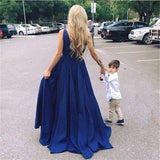 A-line Deep V-neck Sleeveless Navy Blue Long Prom Dresses, PD0681