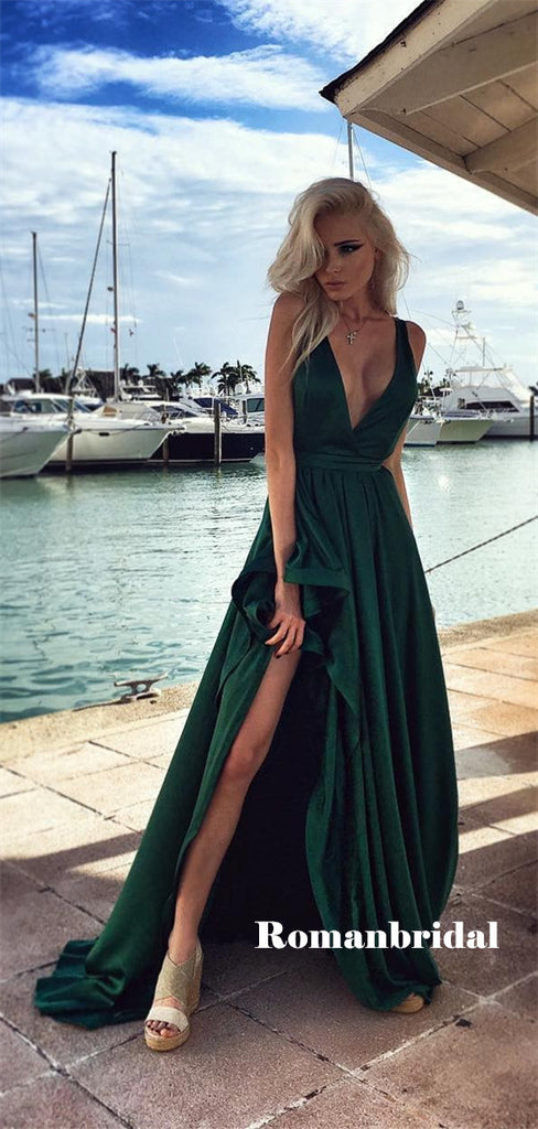 A-line Deep V-neck Long Dark Green Prom Dresses With Split, PD0822
