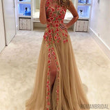 Unique champagne tulle applique long prom dress, evening dress Floor-Length prom dresses, PD0496