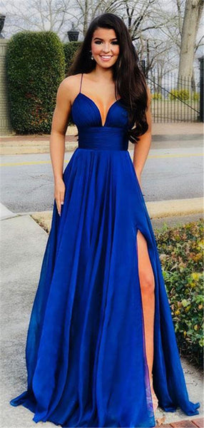 Spaghetti Straps A-line V-neck Royal Blue Prom Dress With Splits, PD0731