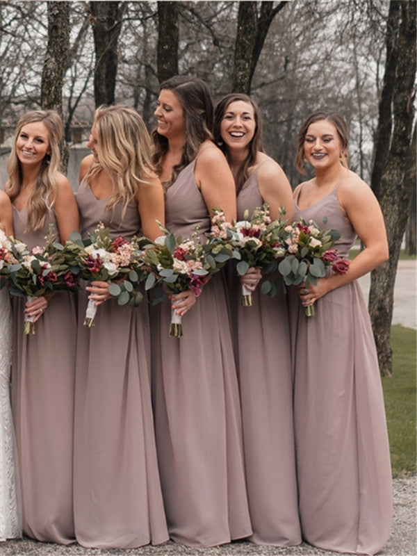 A-line V-neck Floor-length Spaghetti Straps Backless Bridesmaid Dresses, BD0616