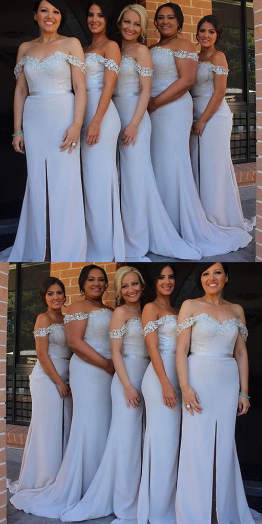 Mermaid Off-shoulder Sexy Split Long Bridesmaid Dresses With Train, BD0530