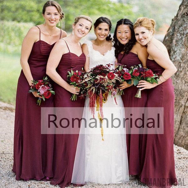 2018 Long bridesmaid dress,Spaghetti Strap Bridesmaid Dress,Pleating Sweetheart Bridesmaid Dresses,Burgundy Bridesmaid Dresses, BD0401