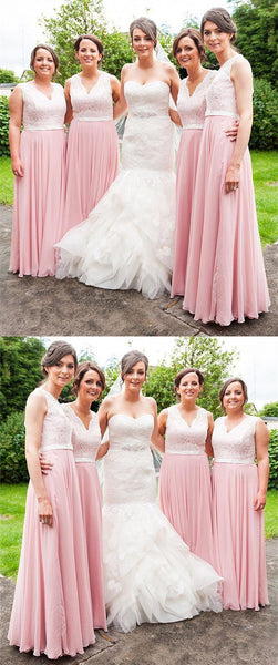 A-line Floor-length V-neck Lace Pink Chiffon Bridesmaid Dresses, BD0581