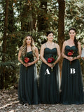 A-line Floor-length Sweetheart Backless Long Tulle Bridesmaid Dresses, BD0617