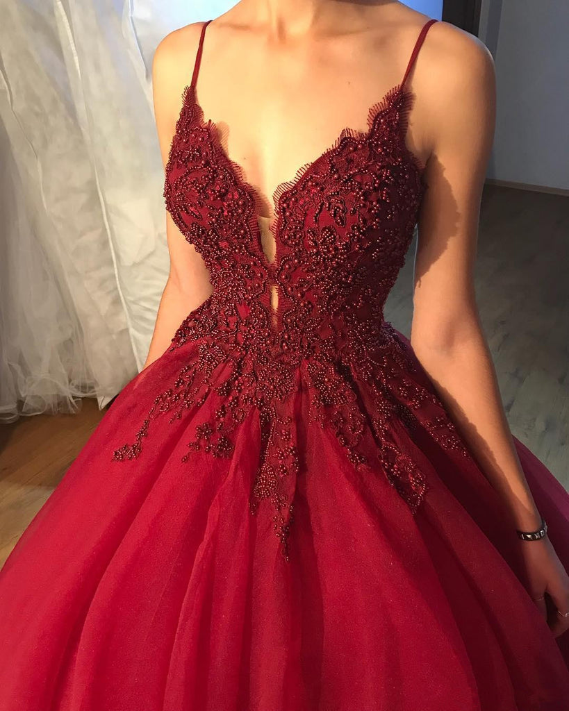 Spaghetti Straps Deep V-neck Beading Top Long Tulle Prom Dresses, PD0679