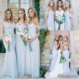 A Line Floor-length Ruched Chiffon Pale Light Blue Off-Shoulder Sweetheart Neckline bridesmaid dresses, BD0421