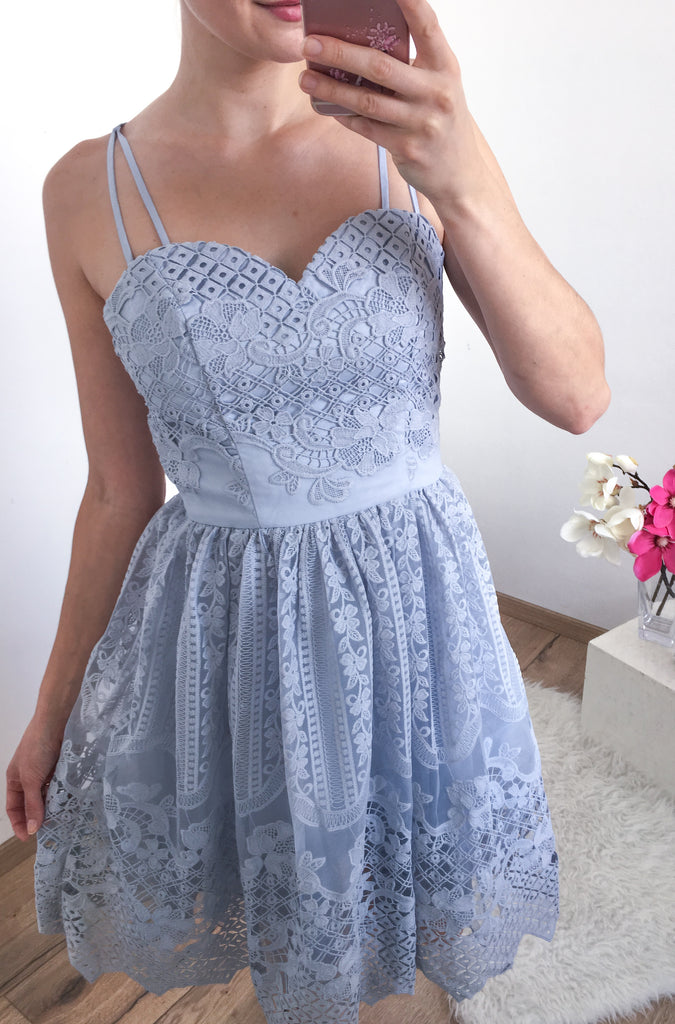 A-Line Sweetheart Spaghetti Straps Full Lace Sleeveless Short Homecoming Dress, HD0395