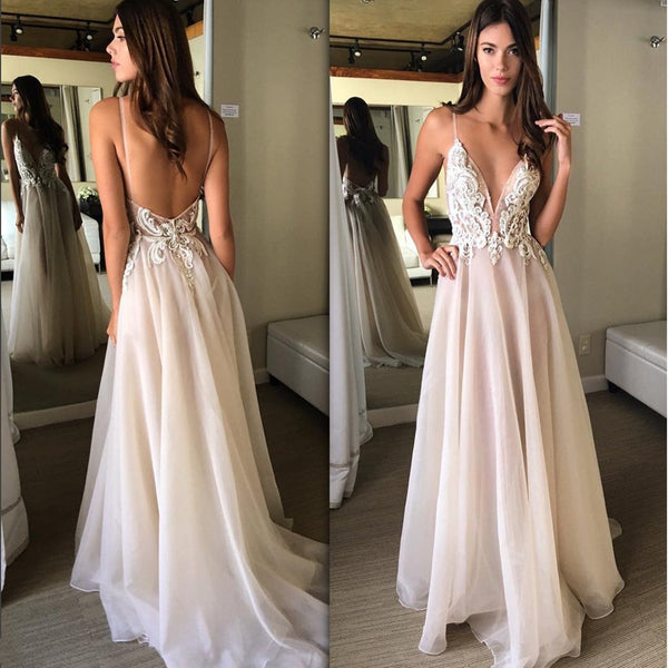 7aba04d793a New Arrival A-line deep Sleeveless V-neck Appliques sexy Spaghetti Strap  long Prom