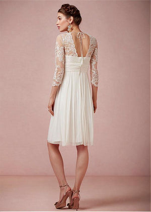 New Arrival chiffon 3/4 sleeves V-neck lace knee-length elegant wedding dresses, WD0335