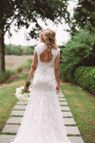 New Romantic Mermaid Cap Sleeves Lace V-neck Open-back Long Wedding Dress, WD0375