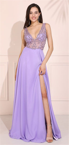 A-line V-neck Backless Beading Top Long Prom Dresses With Split, PD0785