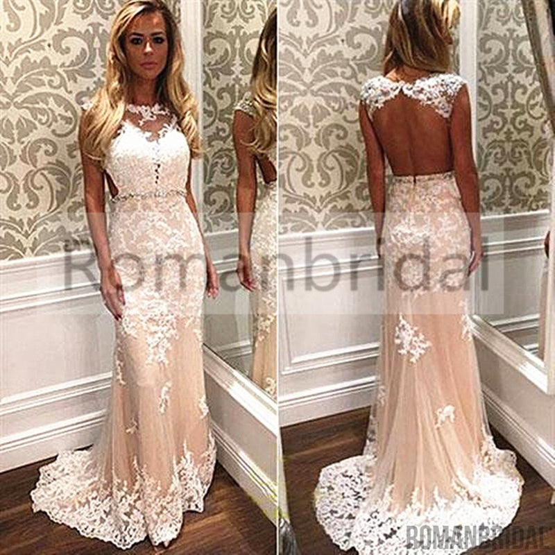 2018 Champagne Lace Cap Sleeves Open Back Elegant Formal Evening ...