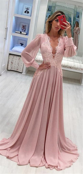 A-line Deep V-neck Long Sleeves Long Lace Pink Chiffon Prom Dresses, PD0771