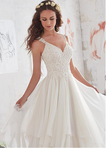 Amazing Chiffon V Neck A Line Beaded Lace Appliques Wedding Dresses Wd0332