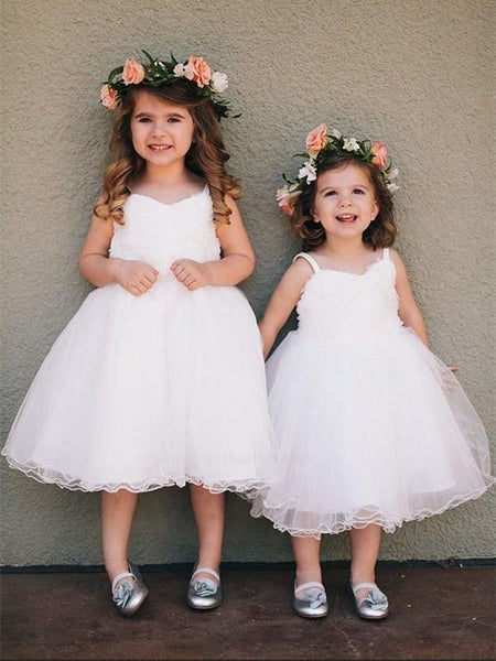 Spaghetti Straps Lovely Sleeveless White Tulle Flower Girl Dresses, FG0153
