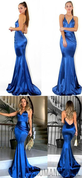 2018 Newest Royal Blue Simple Spaghetti Straps V-neck Long Dress, Evening Prom Gowns, Prom Dress, PD0405