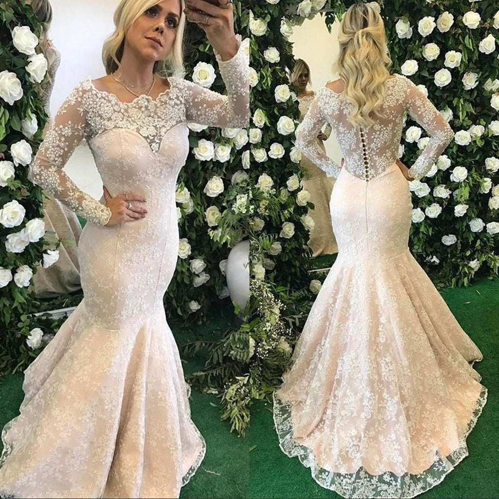 Newest Elegant Full Lace Mermaid Scoop Neck Long sleeves Wedding Dresses with train, WD0347