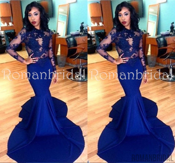 2018 Royal Blue Long Sleeve Mermaid Evening Gown Sexy Court Train Lace Party Dress, PD0475