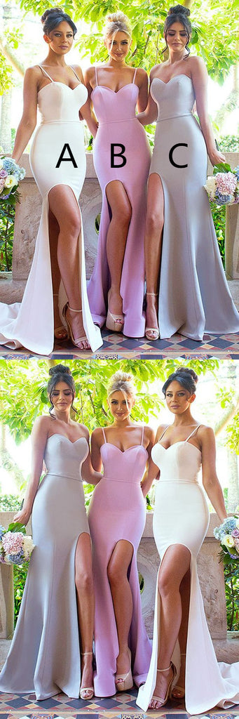 Sexy Sweetheart Spaghetti Sleeveless Side Slit Cheap Simple Bridesmaid Dress, BD0472