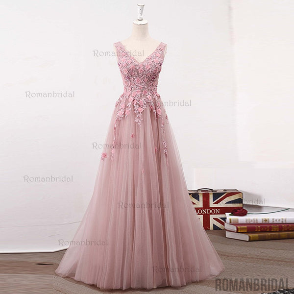 Pink V-neck lace tulle long prom dress, pink evening dress, Popular Cheap Long  prom dresses, PD0495