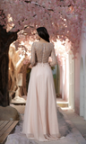 Round Neck Long Sleeves Beading Long Chiffon Prom Dresses, PD0663