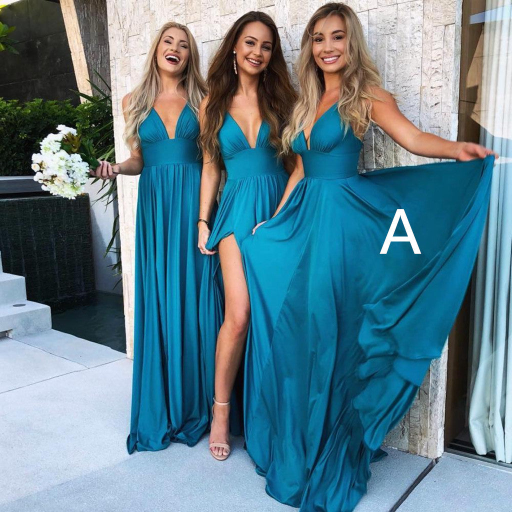 Sexy Spaghetti Straps Deep V-neck High Split Long Popular Bridesmaid Dresses, BD0468
