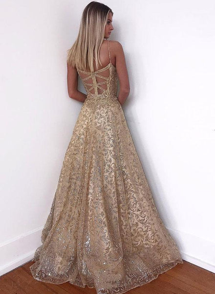 Spaghetti Straps A-line Backless Sparkly Tulle Prom Dress, PD0730